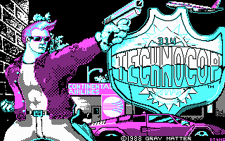 Techno Cop DOS Title screen (CGA)