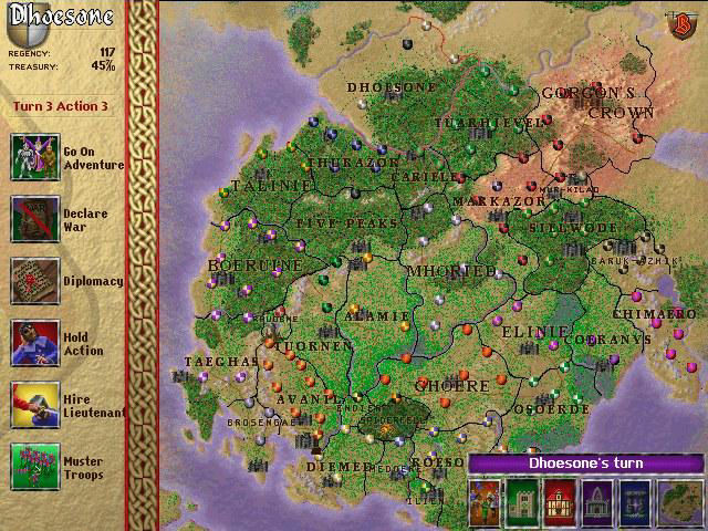 Birthright: The Gorgon's Alliance Windows Main map screen that you spend most of your time