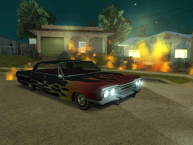 Grand Theft Auto: San Andreas Windows Lowrider in front of burning houses