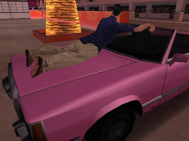 Grand Theft Auto: San Andreas Windows Guy tied to front of car - The aim of this mission is to drive around and scare him as much as possible.