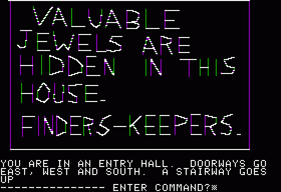Hi-Res Adventure #1: Mystery House Apple II The notes contain valuable hints.