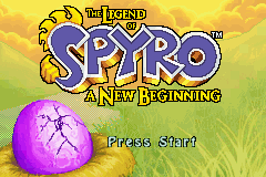 The Legend of Spyro: A New Beginning Game Boy Advance Title screen