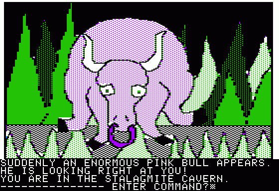Hi-Res Adventure #3: Cranston Manor Apple II This is the beast! A pink bull! RUN!!!
