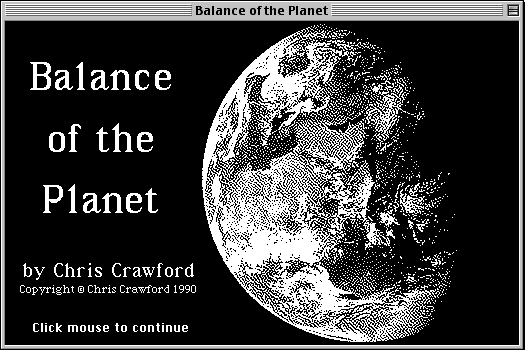 Balance of the Planet Macintosh Title screen