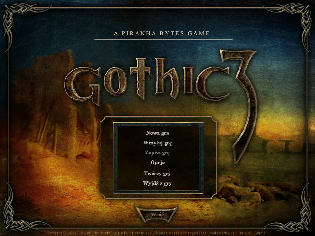 Gothic 3 Windows Main menu