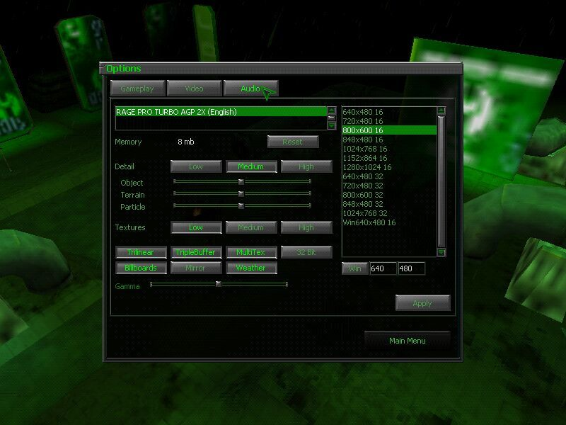 Dark Reign 2 Windows Options menu (graphics section).