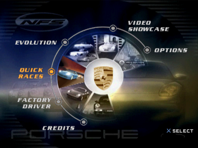 Need for Speed: Porsche Unleashed PlayStation Main menu
