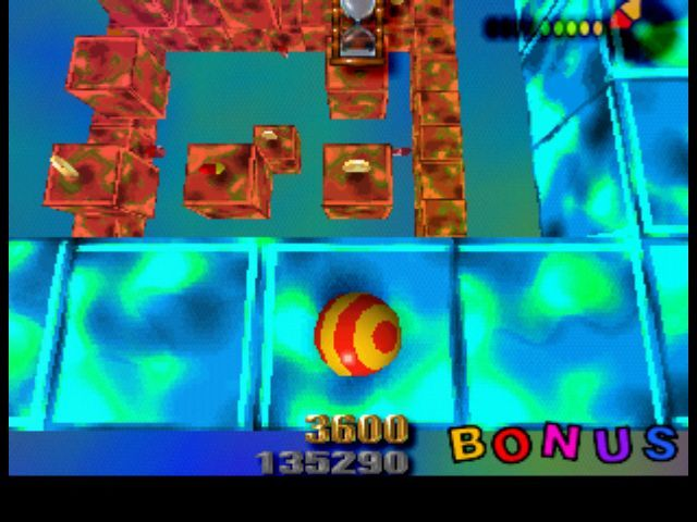 Roll Away PlayStation In bonus levels, you have to touch and color all blocks.