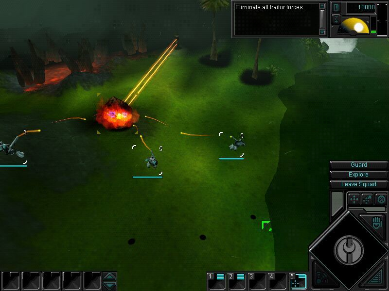 Dark Reign 2 Windows Attacking a turret with aerial units.