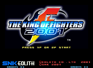 The King of Fighters 2001 Neo Geo Title screen.