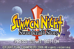 Summon Night: Swordcraft Story Game Boy Advance Title Screen