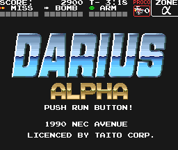 Darius Alpha TurboGrafx-16 Title screen