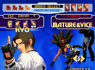 The King of Fighters 2000 Neo Geo Setting the battle order.