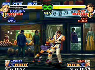 The King of Fighters 2000 Neo Geo Kim Kaphwan tried to hit Hinako Shijou, but he was stopped by her fast-running-grab move Yorigiri...