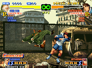 "The King of Fighters 2000 Neo Geo Chin Gentsai gets success on trying to ""connect"" his move Rouja Hanhou in Sie Kensou: 1 hit left..."