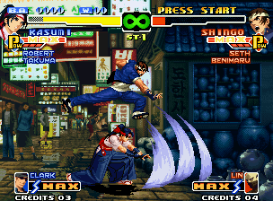 The King of Fighters 2000 Neo Geo At the same time that escapes from Kasumi's Kasane Ate, Shingo tries to hit her with an air kick.