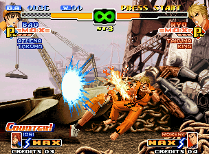 The King of Fighters 2000 Neo Geo Bao had to be enough fast to hit-surpass Ryo Sakazaki's Ko'ou Ken only using his Body Blow Attack...