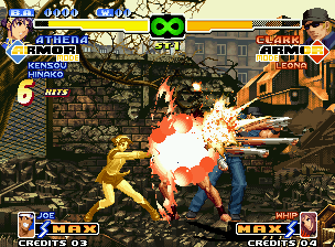 The King of Fighters 2000 Neo Geo Clark being damaged by the joint damage of Athena's Nu Psycho Reflector and Joe's Bakuretsu Ken.