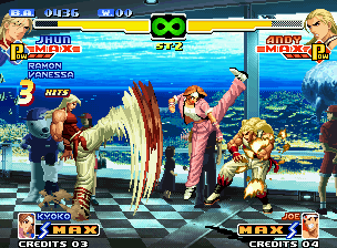 The King of Fighters 2000 Neo Geo Jhun uses his fast-kickin' DM again, but now in assistance to Kyoko's 75 Shiki Kai Squared attack.