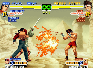 The King of Fighters 2000 Neo Geo Allied to Athena's Flame Sword, Robert throws his projectile-based Ryuugeki Ken against Joe Higashi.