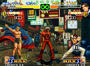 The King of Fighters 2000 Neo Geo For now, K' taunts Kim Kaphwan... but his striker Gai Tendou is ready to accomplish his function!