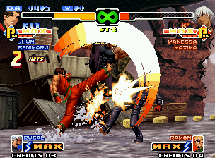 The King of Fighters 2000 Neo Geo Trapped by Rugal Bernstein's Genocide Cutter, K' was an easy prey for Kim Kaphwan's DM Hou'ou Kyaku!