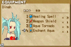 Summon Night: Swordcraft Story 2 Game Boy Advance Your Guardian Beast's equipment screen shows the four spells or items that you have equipped.  Only the ones that are equipped can be used in battle