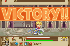 Summon Night: Swordcraft Story 2 Game Boy Advance Victory over a boss shows a nice Victory banner