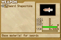 Summon Night: Swordcraft Story 2 Game Boy Advance Shapestones are used to make different weapons