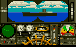 Advanced Destroyer Simulator DOS The binocular view shows an enemy transport approaching.