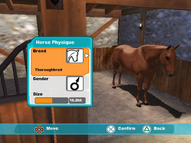 Lucinda Green's Equestrian Challenge PlayStation 2 Front-End - Create Horse - Horse Physique