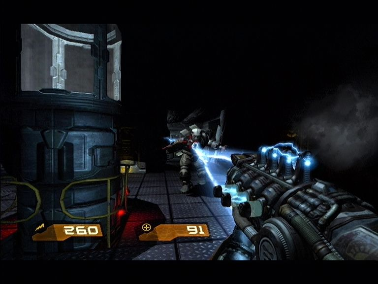Quake 4 Xbox 360 The Strogg Lightning Gun is good for medium range warfare