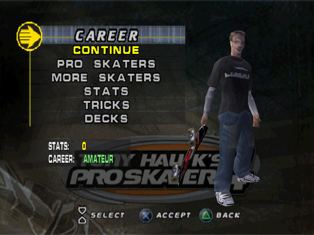 Tony Hawk's Pro Skater 4 PlayStation Selecting the man.