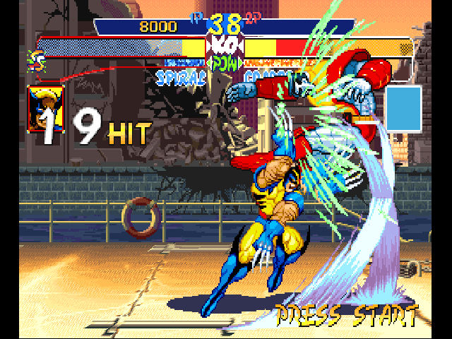 X-Men: Children of the Atom PlayStation No, that's not Wolvie. It's the last blow of Spiral's Metamorphosis combo.