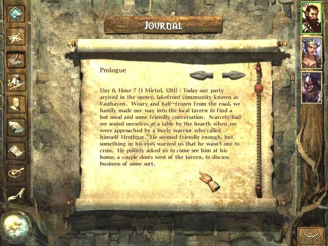 Icewind Dale Windows Your journal