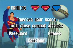 Superman: Countdown to Apokolips Game Boy Advance This screen shows how well you did.  Stick to punches for a better score.