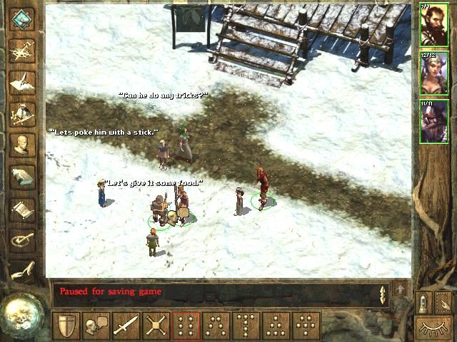 Icewind Dale Windows Children playing with a squirrel. The town lives its life.