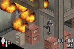 Max Payne Game Boy Advance Escaping from the exploding factory
