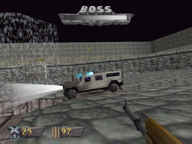 Turok: Dinosaur Hunter Windows One of the boss enemies: A hummer jeep