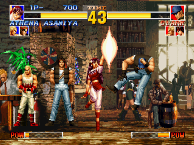 The King of Fighters '95 PlayStation Thanks to Athena Asamiya's Psycho Sword, Clark Steel loses more of its energy and goes to heights!