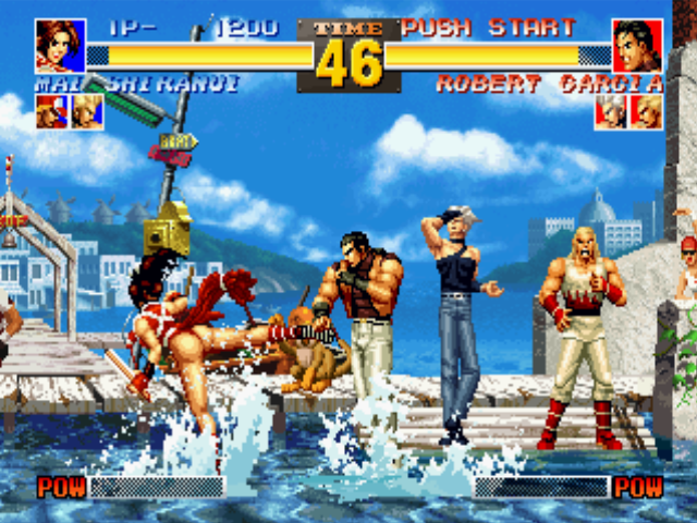 The King of Fighters '95 PlayStation Robert Garcia walks some steps to hit-attack Mai Shiranui: she uses a Knockdown Attack as answer...