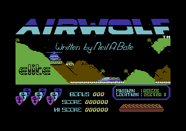 Airwolf Commodore 64 Title screen