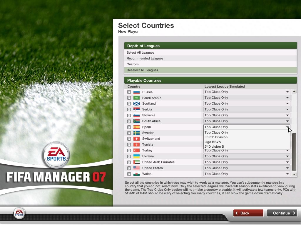 FIFA Manager 07 Windows It's possible to choose how deeply leagues are simulated