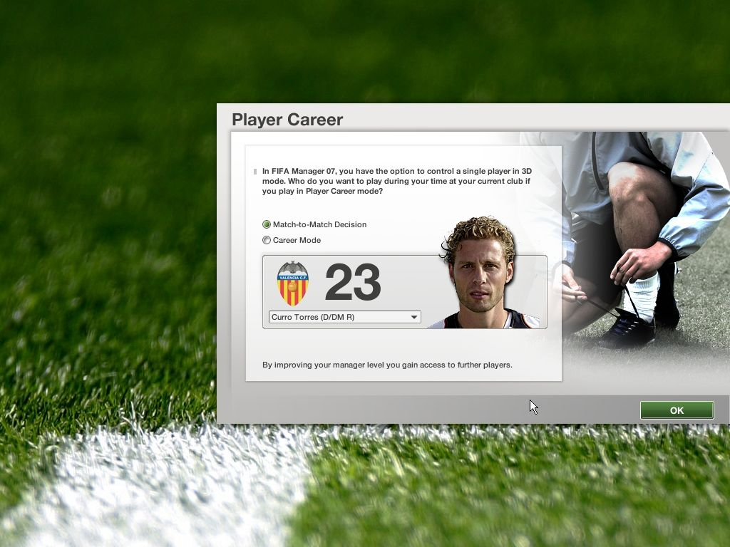 FIFA Manager 07 Windows Choosing a player in 3D mode