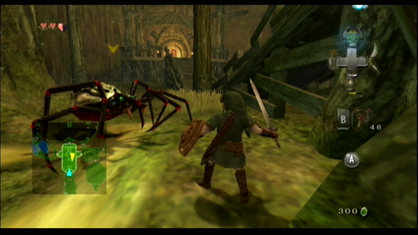 The Legend of Zelda: Twilight Princess Wii Being attacked by a giant spider!