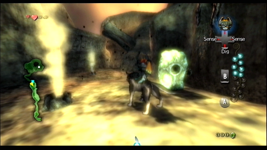 The Legend of Zelda: Twilight Princess Wii Exploring Death Mountain while transformed into a wolf.