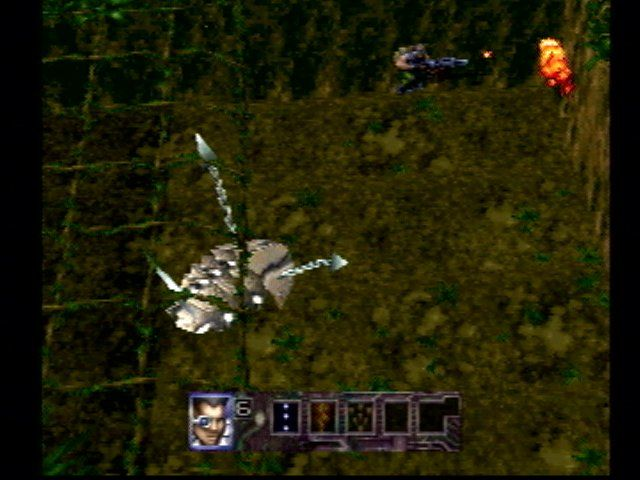 Contra: Legacy of War PlayStation Attacking a giant scorpion.