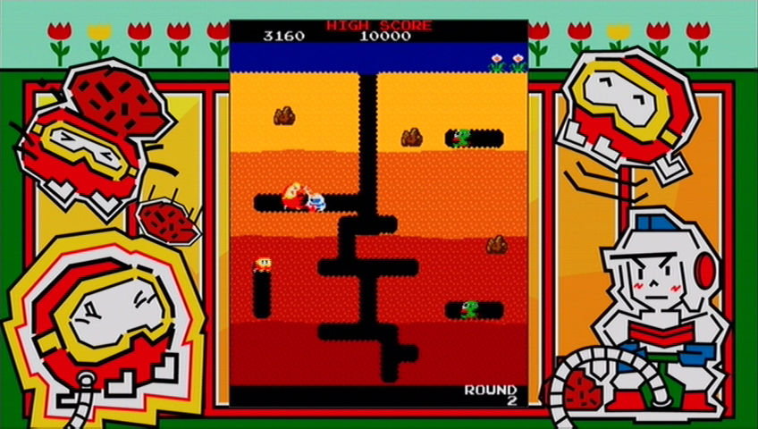 Dig Dug Xbox 360 Exploding an enemy.