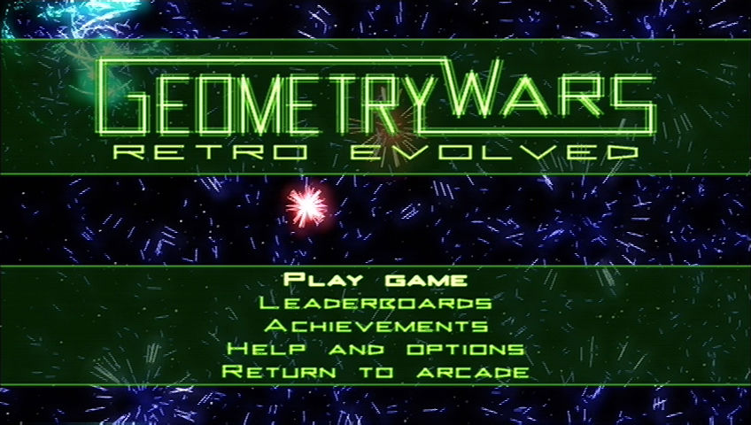 Geometry Wars: Retro Evolved Xbox 360 Title screen