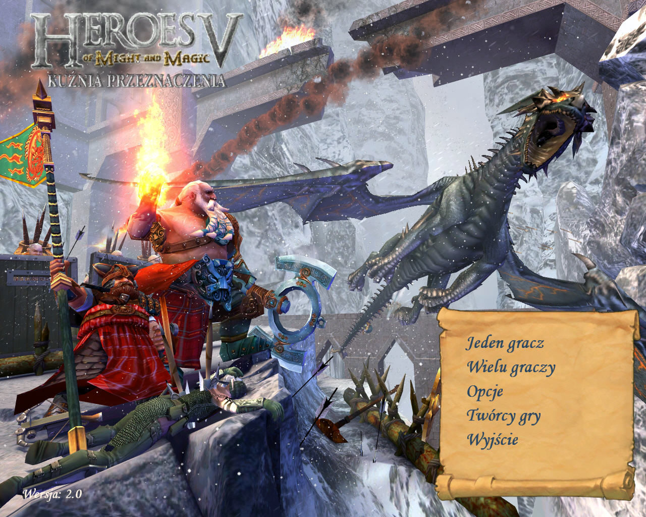 Heroes of Might and Magic V: Hammers of Fate Windows Main menu